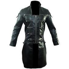 Men Real Black Leather Goth Matrix Trench Coat Steampunk Gothic Van Helsing