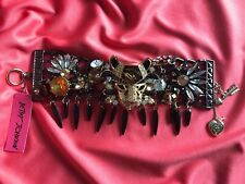 Betsey Johnson Hollywood Glam Leopard Cougar Cat Crystal Jeweled Spike Bracelet