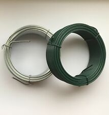 More details for garden wire heavy duty green plastic coated / galvanised, plant tie fencing wire