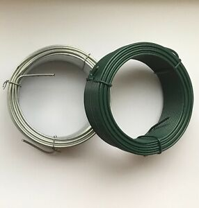 GARDEN WIRE HEAVY DUTY GREEN PLASTIC COATED / GALVANISED, PLANT TIE FENCING WIRE