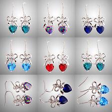 Rainbow Blue Green Topaz Sapphire Quartz Gemstones Hook Dangle Silver Earrings