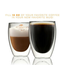 12pcs Double Wall Glasses Thermal Insulated Cups Coffee Tea Glassware 350ml