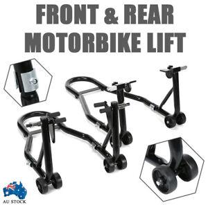 Heavy Duty Motorcycle Motorbike Front & Rear Wheel Stand Set Paddock Race Lift
