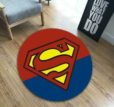 3D Superhero Superman Area Rug Living Room Carpet Door Mats Non-slip Pad Round