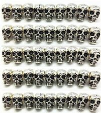 50 Pcs 4mm Metal Skull Bead For Crafts & Jewelry Necklace Bracelet Making Silver