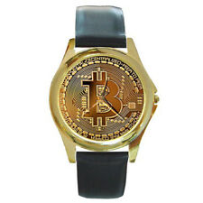 New Bitcoin Picture Style Round Gold Metal Watch