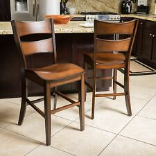 (Set of 2) Traditional Design Dark Brown Wood Counter Stool