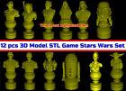 12 pcs 3D Model STL Game Stars Wars Set for CNC Router Aspire 3d printer Artcam