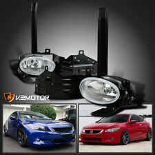 For 2008-2010 Honda Accord 2Dr Coupe Clear Bumper Driving Fog Lights Lamp+Switch