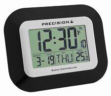 PRECISION PREC0097 WALL & DESK RADIO CONTROLLED LARGE SCREEN LCD CLOCK BLACK