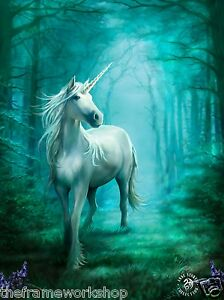 ANNE STOKES ART FOREST UNICORN - 3D FANTASY PICTURE PRINT LARGE 300mm x 400mm