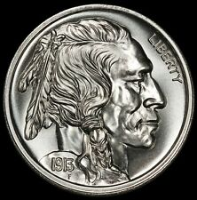 Intaglio Mint 1913-D Buffalo Nickel 5 Cents Design 2 oz .999 Silver Round