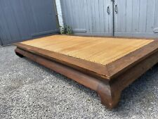 More details for antique chinese hardwood asian opium bed or table rattan top - large example