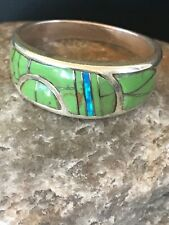 Native American Green Gaspeite Opal Inlay Ring Sterling Silver Sz 9.75 Gift