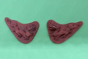 DH Miniature  STAN LEWIS, Hand Carved, Pair CHINESE CDRAGON Plaques IGMA OOAK