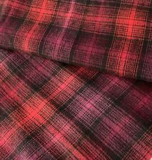 Plaid Flannel Fabric Red and Black 100% Cotton By the Yard