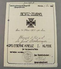 108335, Besitzzeugnis, Urkunde, Eisernes Kreuz 1.Klasse, Oberarzt, EK I.Klasse