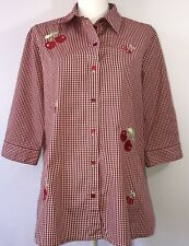Allison Daley Women's XL Red White Checkered Cherry Button Down Blouse #B4-5