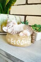 """5.7"""" WELCOME CAT FIGURINE  STATUE LIFELIKE COLLECTIBLE ANIMAL HOME DECORATION"""