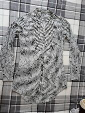 FIRETRAP LONGLINE COTTON Striped Black & Cream Long Sleeve Blouse SZ 8