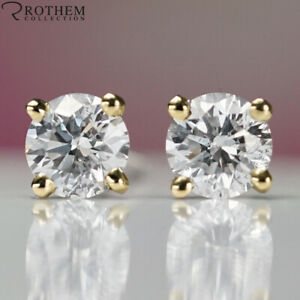 £1,650 Solitaire Diamond Stud Earrings 0.98 CT Yellow Gold I2 Studs 51863354