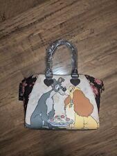 "Disney Lady & The Tramp Floral Satchel Bag LOUNGEFLY 14 1/2"" x 6"" x 9 1/4"""
