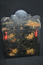 Antique Chinoiserie Paper Mache Letter Holder Wall Pocket 1850s 1890's Victorian