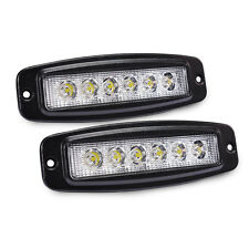 MICTUNING 2X 18W Flood LED Light Bar Flush Mount Driving Work Fog Lamp 4WD Truck