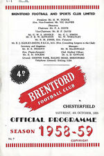Football Programme>BRENTFORD v CHESTERFIELD Oct 1958
