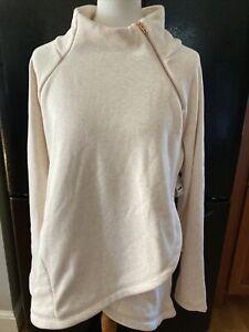 NWT Athleta Cozy Karma Asymmetrical Pullover Sweatshirt Oatmeal XL