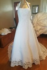 Michaelangelo David's Bridal size 6 white halter beaded lace wedding dress 8377
