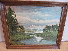 Vintage Frederick D. Ogden Litho Print 20 x 16 Winding River Landscape