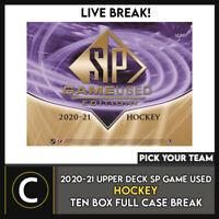 2020-21 UPPER DECK SP GAME USED HOCKEY 10 BOX CASE BREAK #H1158 - PICK YOUR TEAM