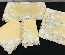 Antique Italian Linen Placemats Runner Napkins Hand-Embroidered 17 Pc Service 8