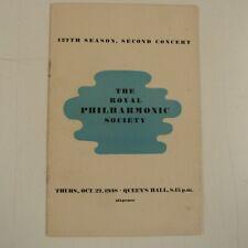 concert programme THE ROYAL PHILHARMONIC SOCIETY Oct. 27, 1938 127th season 2. c