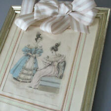 Antique Hand-Colored FRENCH FASHION Print LADIES Silvered Frame w BOW Hanger