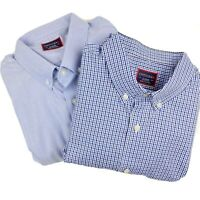 UNTUCKit Lot (2) Mens XL Fits Large Long Sleeve Button Down Blue Check Shirts