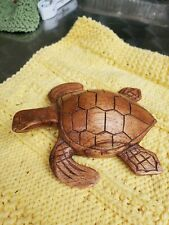 Small Hand Carved Wood Sea Turtle 5 1/2� X 4 1/2 X 2 1/2 Med Brown