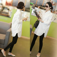 Korean Women Casual Loose Button Down Shirt Career Slim Long Blouse Top White S