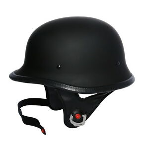 DOT Motor Matte Black German Half Face Helmet For Cruiser Chopper Biker M/L/XL