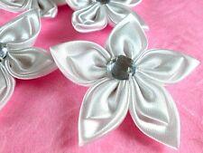 "20 White 2"" Victorian Satin Flower w/ Rhinestone Appliques DIY Bridal"