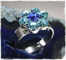 Nuevo anillo con swarovski piedras Aquamarine/Zafiro/azul ajustable en tamaño anillo de mujer