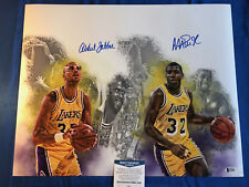 Kareem Abdul-Jabbar Magic Johnson Signed 16x20 Photo LA Lakers Beckett COA 1