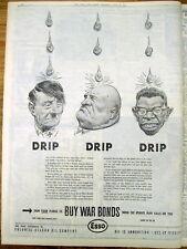 1942 WW II newspaper BUY WAR BONDS -Lrg POSTER w Images of HITLER Mussolini TOJO