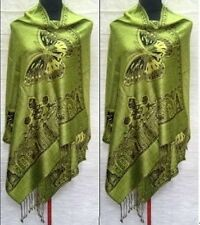 2017Hot Green New Double Side Butterfly Pashmina Scarf Wrap Shawl free shipping