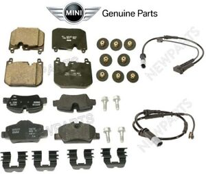 For Mini F56 F57 Cooper JCW Pair Set Of Front & Rear Brake Pads & Sensors OES