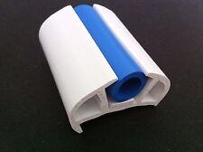 BOAT D FENDER 50MM BASE WHITE WITH BLUE INSERT PVC RUBBING STRAKE (10 MTR ROLL)