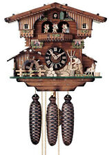 RARE Hones Cuckoo Clock 8-Day Animated Dancers, Water Wheel, Wood Carver 8614T