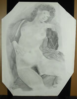 F Bars, Drawing Original Naked Woman Pencil Towards 1970 25 3/16in By 18 7/8in