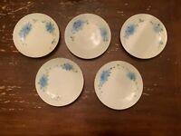 5 Vintage Thomas Bavaria Hand Painted Blue & White Blue Forget Me Flower Plate